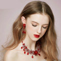 Vintage Wedding Bridal Jewelry Alloy Flower Red Pearl Rhinestone Crystal Bead Necklace Earrings Set