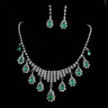Vintage Wedding Bridal Jewelry Alloy Green Rhinestone Water-drop Tassel Necklace Earrings Set