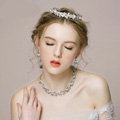 Vintage Wedding Bridal Jewelry Alloy Pearl Rhinestone Crystal Tiaras Necklace Earrings Set
