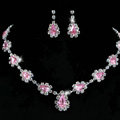 Vintage Wedding Bridal Jewelry Alloy Pink Rhinestone Water-drop Statement Necklace Earrings Set