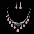 Vintage Wedding Bridal Jewelry Alloy Pink Rhinestone Water-drop Tassel Necklace Earrings Set