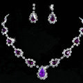 Vintage Wedding Bridal Jewelry Alloy Purple Rhinestone Water-drop Statement Necklace Earrings Set