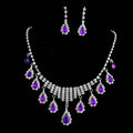 Vintage Wedding Bridal Jewelry Alloy Purple Rhinestone Water-drop Tassel Necklace Earrings Set