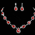 Vintage Wedding Bridal Jewelry Alloy Red Rhinestone Water-drop Statement Necklace Earrings Set