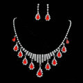 Vintage Wedding Bridal Jewelry Alloy Red Rhinestone Water-drop Tassel Necklace Earrings Set