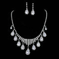 Vintage Wedding Bridal Jewelry Alloy Rhinestone Water-drop Tassel Necklace Earrings Set