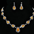Vintage Wedding Bridal Jewelry Alloy Yellow Rhinestone Water-drop Statement Necklace Earrings Set