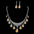 Vintage Wedding Bridal Jewelry Alloy Yellow Rhinestone Water-drop Tassel Necklace Earrings Set