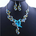 Vintage Wedding Bridal Jewelry Blue Rhinestone Butterfly Floral Gold Plated Chain Necklace Earrings Set