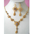Vintage Wedding Bridal Jewelry Clear Rhinestone Flower Gold Plated Chain Necklace Earrings Set