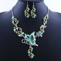 Vintage Wedding Bridal Jewelry Green Rhinestone Butterfly Floral Gold Plated Chain Necklace Earrings Set