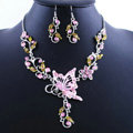 Vintage Wedding Bridal Jewelry Pink Rhinestone Butterfly Floral Gold Plated Chain Necklace Earrings Set