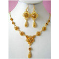 Vintage Wedding Bridal Jewelry Rhinestone Flower Champagne Gold Plated Chain Necklace Earrings Set