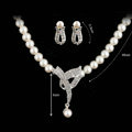 Vintage Wedding Bridal Jewelry Rhinestone Pearl Necklace Chain Earrings Set Bride Party