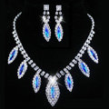 Vintage Wedding Bridal Jewelry Sapphire Blue Rhinestone Diamond Bib Necklace Earrings Set