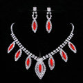 Vintage Wedding Bridal Jewelry Sapphire Red Rhinestone Diamond Bib Necklace Earrings Set