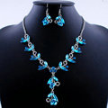 Vintage Wedding Bridal Party Jewelry Alloy Blue Rhinestone Flower vine Pendant Necklace Earrings Set