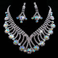 Vintage Wedding Bridal Party Jewelry Alloy Flower Multilayer AB Rhinestone Bib Necklace Earrings Set