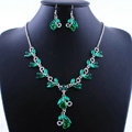 Vintage Wedding Bridal Party Jewelry Alloy Green Rhinestone Flower vine Pendant Necklace Earrings Set