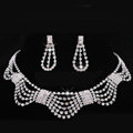 Vintage Wedding Bridal Party Jewelry Alloy Multilayer Rhinestone Bib Necklace Earrings Set