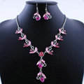Vintage Wedding Bridal Party Jewelry Alloy Pink Rhinestone Flower vine Pendant Necklace Earrings Set