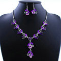 Vintage Wedding Bridal Party Jewelry Alloy Purple Rhinestone Flower vine Pendant Necklace Earrings Set