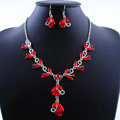 Vintage Wedding Bridal Party Jewelry Alloy Red Rhinestone Flower vine Pendant Necklace Earrings Set