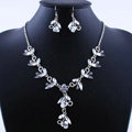 Vintage Wedding Bridal Party Jewelry Alloy Rhinestone Flower vine Pendant Necklace Earrings Set