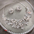 Wedding Jewellery Pearl Crystal Rhinestone Alloy Flower Bridal Necklace Earrings Sets Silver Plated