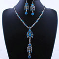 Wholesale Vintage Wedding Bridal Jewelry Alloy Tassel Flower Blue Rhinestone Bib Necklace Earrings Set
