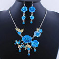 Wholesale Vintage Wedding Bridal Jewelry Alloy Tassel Flower Blue Rhinestone Necklace Earrings Set