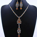 Wholesale Vintage Wedding Bridal Jewelry Alloy Tassel Flower Brown Rhinestone Bib Necklace Earrings Set