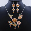 Wholesale Vintage Wedding Bridal Jewelry Alloy Tassel Flower Brown Rhinestone Necklace Earrings Set