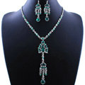 Wholesale Vintage Wedding Bridal Jewelry Alloy Tassel Flower Green Rhinestone Bib Necklace Earrings Set