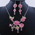 Wholesale Vintage Wedding Bridal Jewelry Alloy Tassel Flower Pink Rhinestone Necklace Earrings Set