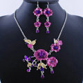 Wholesale Vintage Wedding Bridal Jewelry Alloy Tassel Flower Purple Rhinestone Necklace Earrings Set