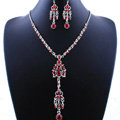 Wholesale Vintage Wedding Bridal Jewelry Alloy Tassel Flower Red Rhinestone Bib Necklace Earrings Set