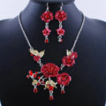Wholesale Vintage Wedding Bridal Jewelry Alloy Tassel Flower Red Rhinestone Necklace Earrings Set