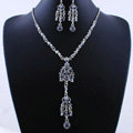 Wholesale Vintage Wedding Bridal Jewelry Alloy Tassel Flower Rhinestone Bib Necklace Earrings Set