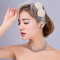 Bowknot Pearl Beads Gauze Bridal Fascinator Wedding Dress Prom Face Veils Hair Clip Accessories