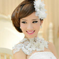 Bride Delicate Handmade Lace Flower Rhinestone Wedding Necklace Bridal Shoulder Chain Dress Jewelry