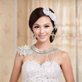 Calssic Bride Delicate Lace Flower Rhinestone Tassel Wedding Necklace Bridal Shoulder Chain Dress Jewelry