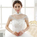 Calssic Bride Hollow Lace Flower Wedding Shawl Rhinestone Tassel Bridal Shoulder Chain Jewelry