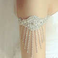 Calssic Lace Flower Rhinestone Tassel Bridal Armlet Wedding Party Perform Bracelet Arm Chain Accessories