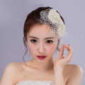 Elegant Bowknot Pearl Beads Gauze Bridal Fascinator Wedding Dress Prom Face Veils Hair Clip Accessories