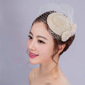 Elegant Bowknot Pearl Gauze Bridal Fascinator Hair Accessories Bride Wedding Dress Prom Hat Face Veils