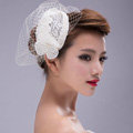 Elegant Pearl Lace Gauze Bridal Fascinator Hair Accessories Bride Wedding Dress Prom Hat Face Veils