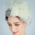 European Bowknot Crystal Gauze Bridal Fascinator Hair Accessories Wedding Dress Prom Hat Face Veils