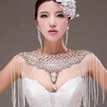 European Extreme Luxury Big Crystal Tassel Bridal Necklace Rhinestone Shoulder Chain Wedding Party Jewelry