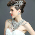 European Extreme Luxury Crystal Bridal Necklace Rhinestone Shoulder Chain Wedding Party Jewelry